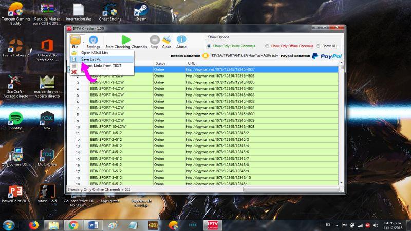 modificar listas IPTv en IPTV Checker